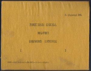 VINTAGE BRITISH INDIA 1940 MOTOR DRIVING LICENCE