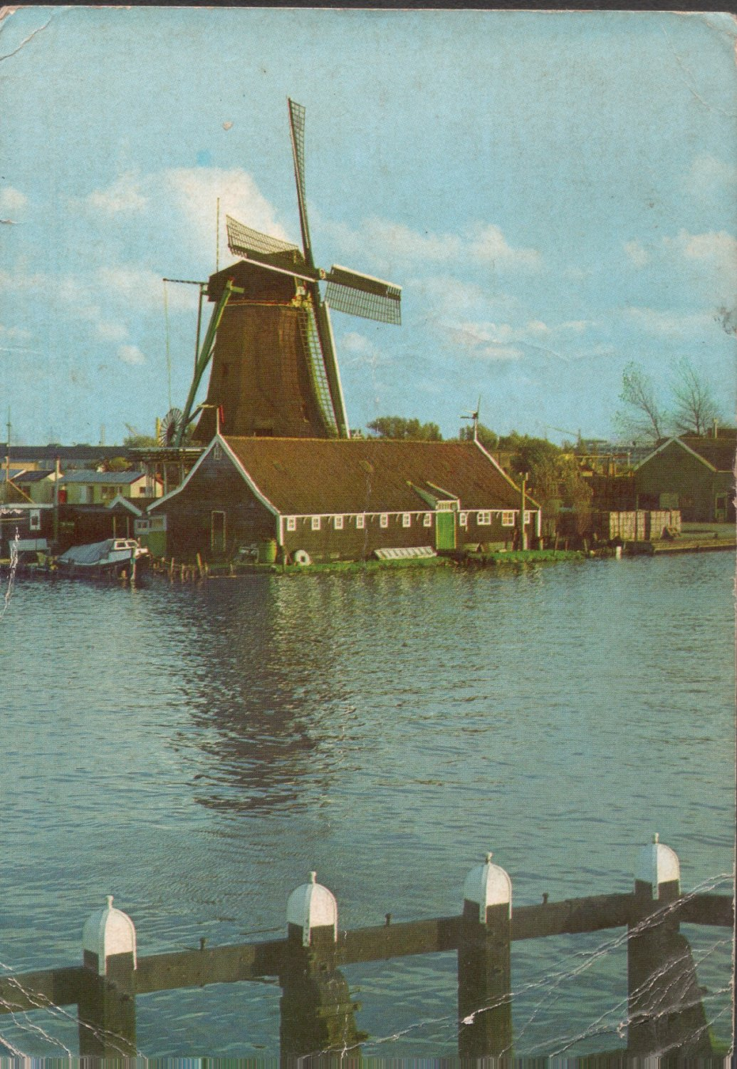 NEDERLANDS  WINDMILL BY RIVERSIDE ,AMSTERDAM 1971 VINTAGE