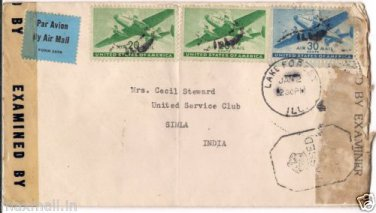 Censor cover 4974 lake forest ILL. USA To Service Club, Simla