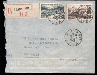 Regd Airmail Paris To Gov Gen  C Rajagopalachari New Delhi 1949