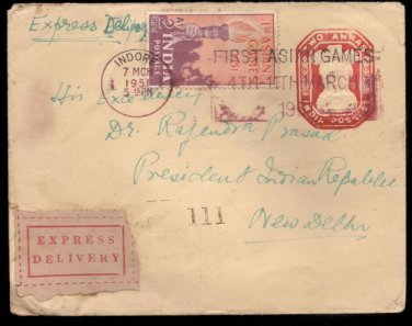 Ist Asian Games 1951 Postal Mark EX Delivery Cover from Indore to President Ind