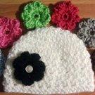 crochet baby girl hat w/ 7 flowers