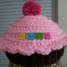 handmade crochet baby girl cupcake hat 0-3 months