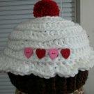 handmade crochet baby girl cupcake hat 3-6 months