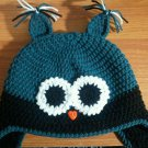 handmade crochet baby boy owl earflap hat 0-3 months