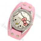 Cute Hello Kitty Pattern Leather Strap Wrist Watch with Rhinestone-Pink