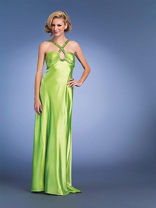 Beading Strapped Lime Key-hole Prom Dress
