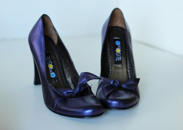 purple metallic Heeled pumps