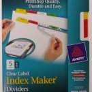 Avery 11406 Clear Label, Multicolor,  Index Maker Presentation Dividers, 5 Tabs