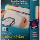 Avery 11407 Clear Label, Multicolor,  Index Maker Presentation Dividers, 8 Tabs