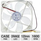 Systemax OEM 120mm Case Fan - 4 Pin Molex, 1600 RPM, Orange LED (F12025-BORA-4)