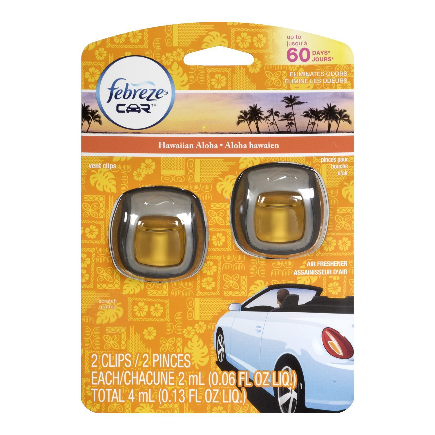 Febreze Car Vent Clips Air Freshener Odor Eliminator New: 2 Febreze Car Vent Clips, Air Freshener,Eliminates Odors