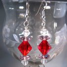 Red Bicone Earrings Handcrafted