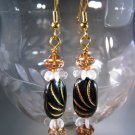 Black and Gold Earrings Handcrafted