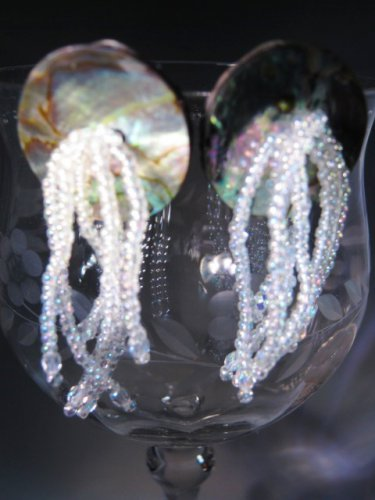 Abilone Shell Seed Beads Earrings Handcrafted