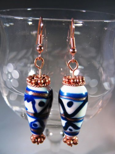 White Blue Black Earrings Handcrafted