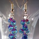 Purple and Blue Earrings Handcrafted