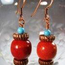 Sponge Coral Bead Earrings Handcrafted