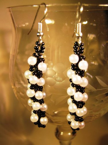 Faux Pearl and Black Seed Earrings Handcrafted