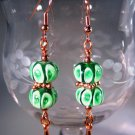 Green and Copper Earrings Handcrafted