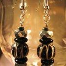 Black Lampwork Beaded Earrings Handcrafted