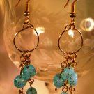Blue Cubed Earrings Handcrafted
