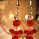 Red and Clear Earrings Handcrafted