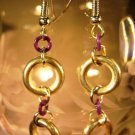 Silver and Purple Earrings Handcrafted