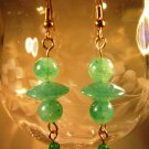 Green Faux Stone Earrings Handcrafted