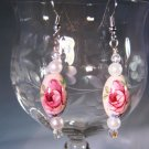 Pink Rose Earrings Handcrafted
