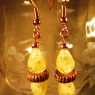 Yellow Copper Earrings Handcrafted