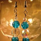 Crystal and Blue Earrings Handcrafted