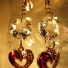 Red Cutout Heart Earrings Handcrafted