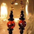 Mottled Orange and Black Earrings Handcrafted