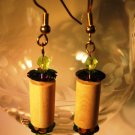 Wood and Green Earrings Handcrafted