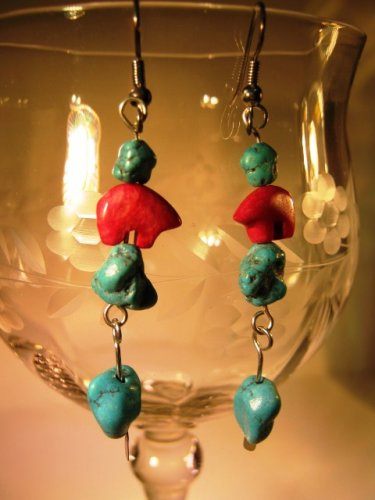 Red Jasper and Turquoise Earrings Handcrafted