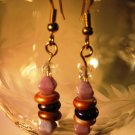 Copper and Purple Earrings Handcrafted