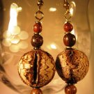 Mahogony Seed Pod Earrings Handcrafted
