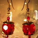 Ruby and Gold Earrings Handcrafted