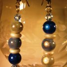Blue Miracle Bead Pierced Earrings Handcrafted