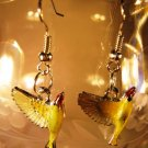 Yellow Bird Earrings French Wire Pierced