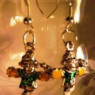Scarecrow Earrings French Wire Pierced Handcrafted
