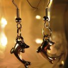 Dolphin Earrings French Wire Pierced Handcrafted