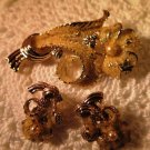 Sugared Gold Tone Brooch Earring Set Vintage