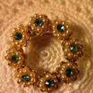 Vintage Flower Brooch Pin Rhinestone Faux Pearl