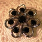 Vintage Silver Tone Black Rhinestones Brooch Pin