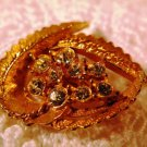Vintage Gold Tone Leaf and Rhinestones Brooch Pin