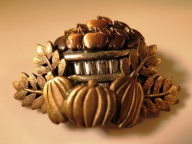 Apple Basket Pumpkin Pin Brooch Basket