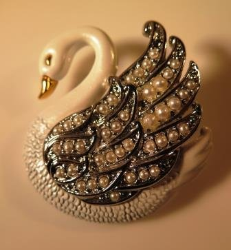 Enameled Swan Brooch Pin Figural
