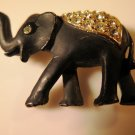 Black Matte Elephant with Rhinestones Pin Figural
